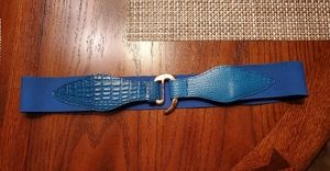 Vintage 80s blue and gold buckle stretchy belt